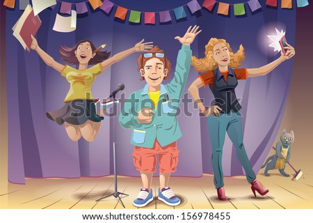 The young man and two women are standing on the stage and celebrating the award winning. The people and the background are placed on a different layers of the vector EPS file v10.0.  Enjoy!  - stock vector