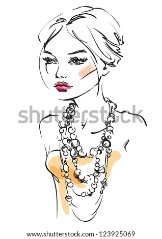 The young woman with beads - stock vector