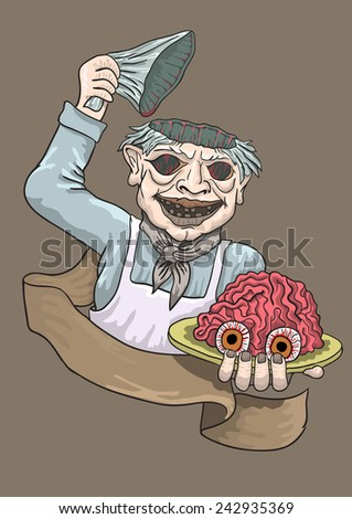 the zombie the cook treats all with the of a mozgamiya smiles - stock vector