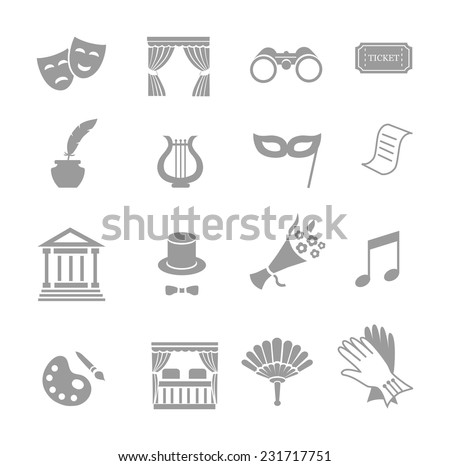 Theater acting  icons set black vector isolated - stock vector