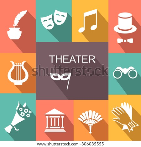 Theater acting  icons set white vector illustration with shadow - stock vector