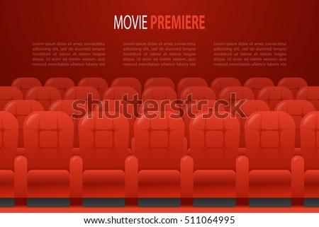 Theater / cinema hall with rows of red chairs. Concept horizontal banner for cinema design with place for text. Scalable flat vector illustration