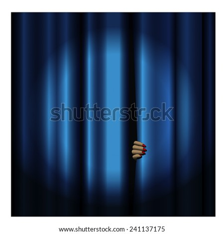Theater curtain and hand -blue