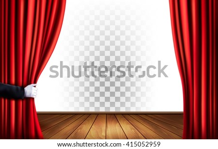 Theater curtains with a transparent background. Vector. - stock vector