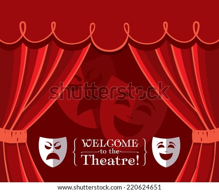 Theater curtains with masks - stock vector