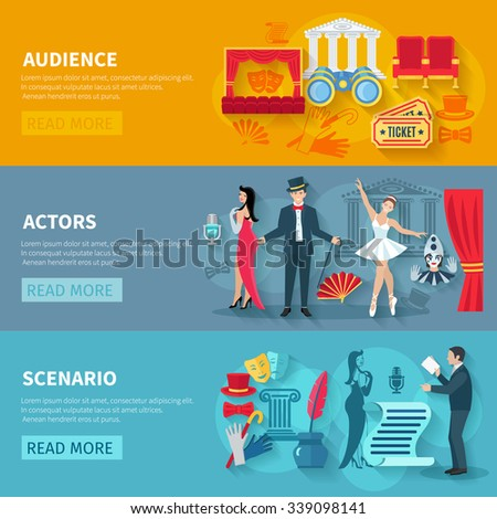 Theater horizontal banner set with audience actors flat elements isolated vector illustration - stock vector