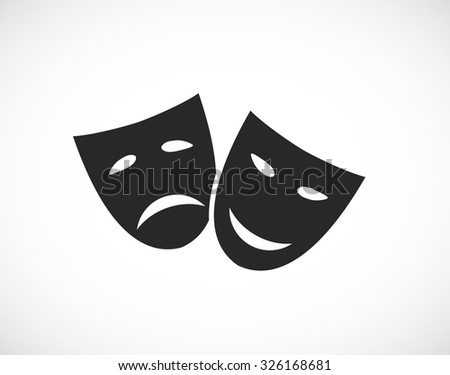 theater human mask sad and smile icon - stock vector