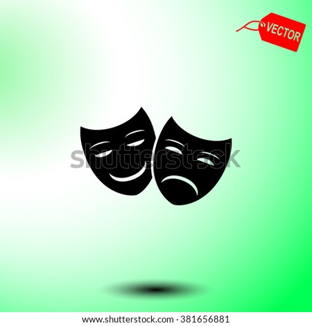 Theater icon with happy and sad masks. - stock vector