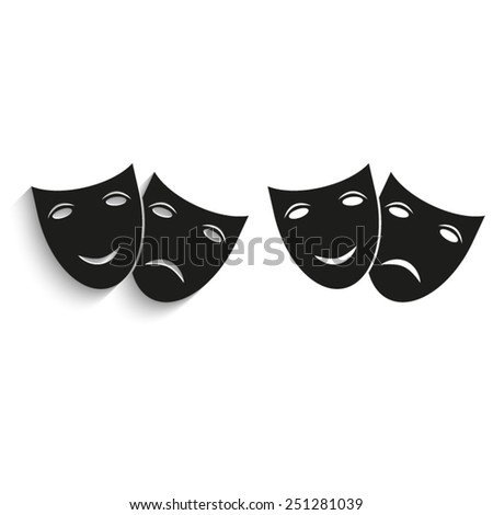 Theater icon with happy and sad masks - black vector icons - stock vector