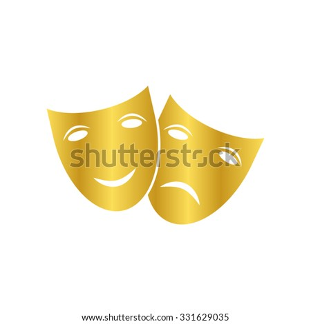 Theater icon with happy and sad masks - gold vector icon