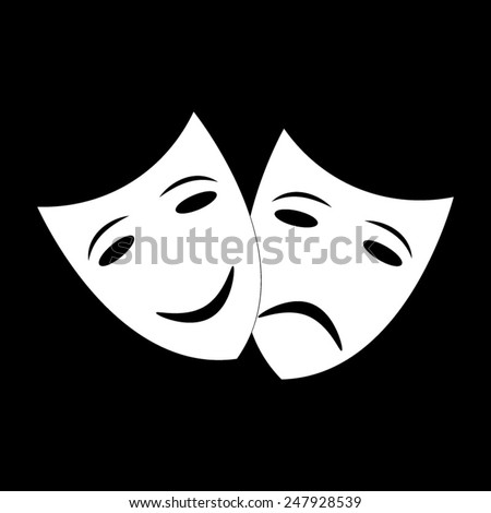 Theater icon with happy and sad masks on a black background - stock vector