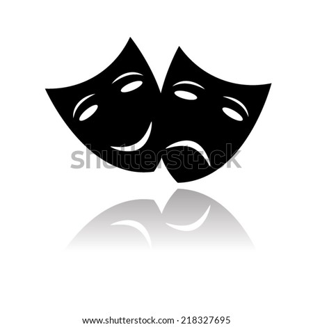 Theater icon with happy and sad masks with shadow - stock vector
