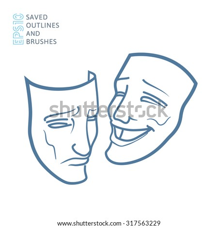 Theater masks, drama and comedy - stock vector