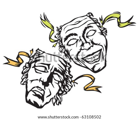 theater masks of comedy and drama or tragedy - stock vector