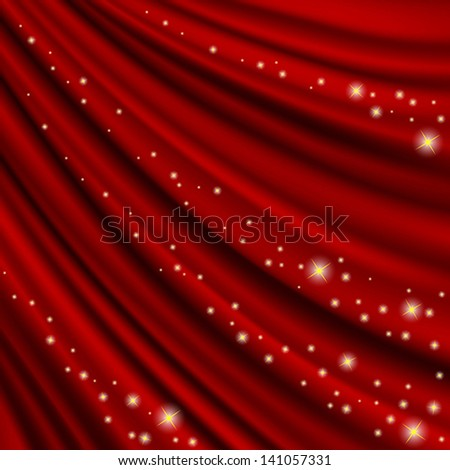 Theater  red curtain. Clipping Mask. Mesh. - stock vector