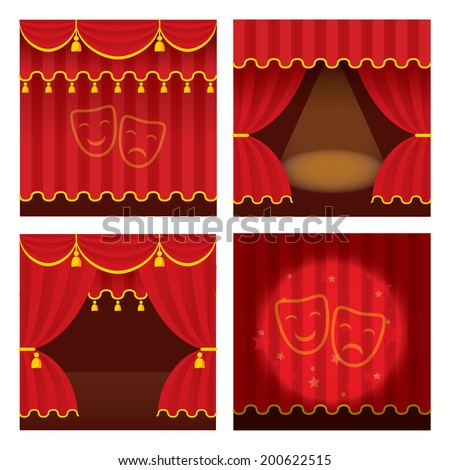 Theater stage set with opened and closed red curtain., ray of light. Detailed stylish modern vector illustration. - stock vector