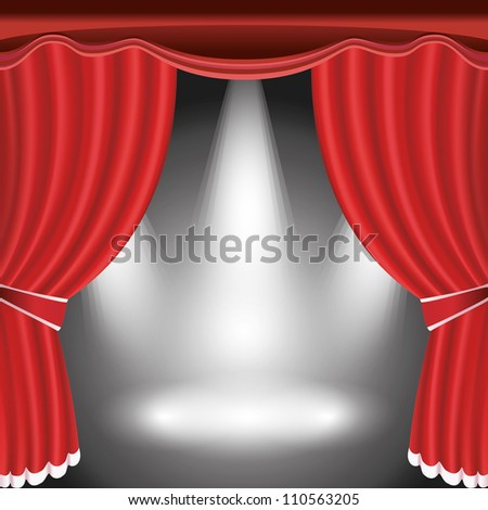 Theater stage with open red curtain and three spotlight. Vector illustration - stock vector