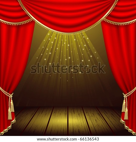 Theater stage  with red curtain. Clipping Mask