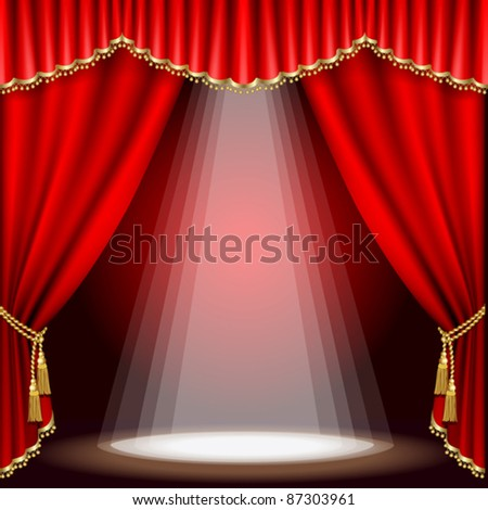 Theater stage  with red curtain. Mesh.EPS10. - stock vector