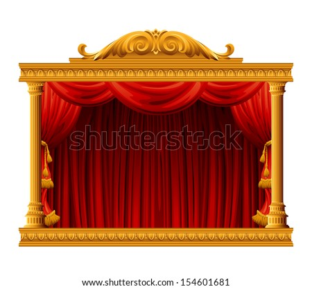 Theater stage with red curtain. Vector illustration - stock vector