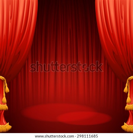 Theater stage with red curtain. Vector illustration EPS 10 - stock vector