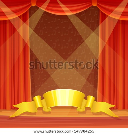 Theater stage with red curtains and spotlights - stock vector