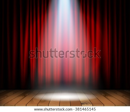 Theater stage with wooden floor and red curtain and a spotlight in center. Vector illustration - stock vector