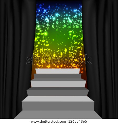 Theater style vector curtains and steps over colorful background - stock vector