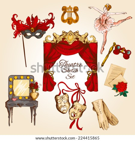 Theatre acting performance colored sketch decorative icons set with ballerina curtain gloves isolated vector illustration - stock vector