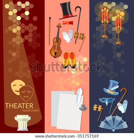 Theatre flat banner set with actors scenario decorations dramaturgy performance vector illustration - stock vector