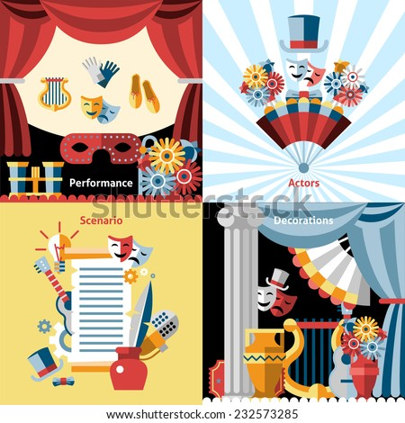 Theatre flat icon set with performance actors scenario decorations isolated vector illustration - stock vector