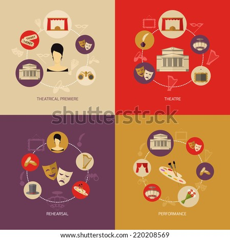 Theatre icons set flat with theatrical premiere rehearsal performance isolated vector illustration - stock vector