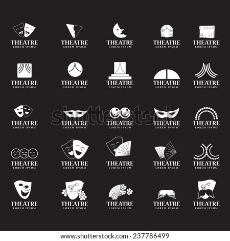 Theatre Icons Set - Isolated On Black Background - Vector Illustration, Graphic Design, Editable For Your Design - stock vector