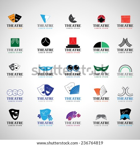 Theatre Icons Set - Isolated On Gray Background - Vector Illustration, Graphic Design,  Editable For Your Design - stock vector