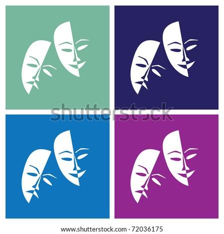Theatre masks lucky sad in pop-art style - illustration - stock vector