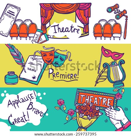 Theatre stage performance horizontal banner set with hand drawn elements vector illustration - stock vector