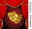 Theatrical mask on a red background. Mesh. Clipping Mask - stock photo