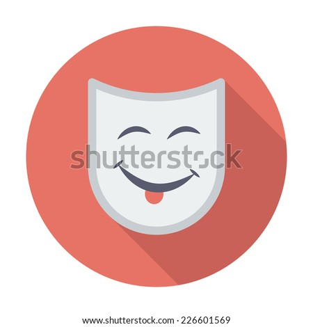 Theatrical mask. Single flat color icon. Vector illustration. - stock vector