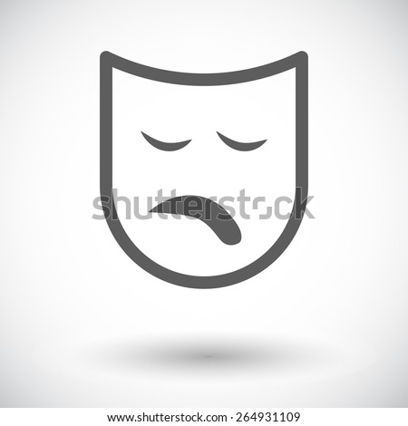 Theatrical mask. Single flat icon on white background. Vector illustration. - stock vector