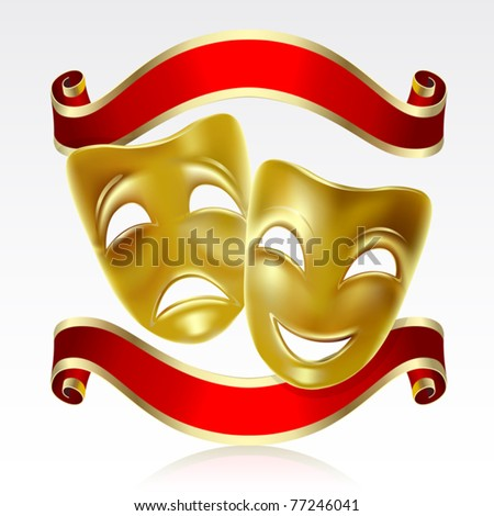 Theatrical mask with a red ribbon. Mesh. - stock vector