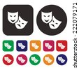 Theatrical masks icon - stock vector