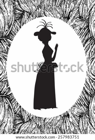 Theatrical oval frame. A curtain and the lady in vintage style - stock vector