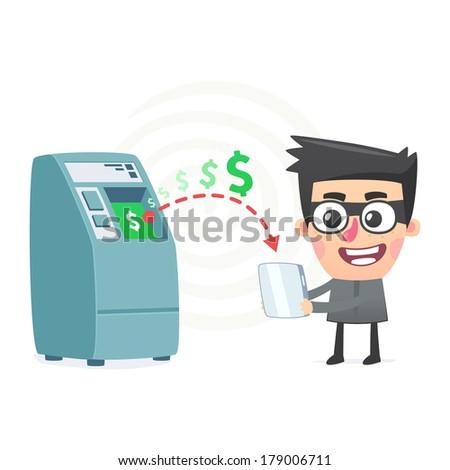 theft money using modern technology - stock vector