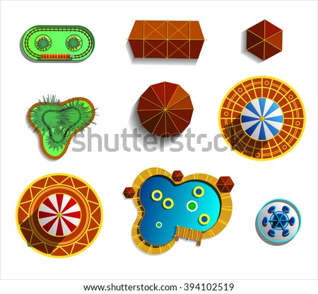 Theme amusement park sings set. Plan icons. Illustrations isolated on white. - stock vector