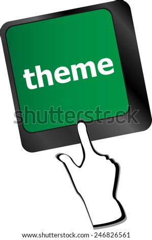 theme button on computer keyboard keys, business concept - stock vector