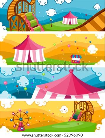 Theme Park Banners - Vector - stock vector