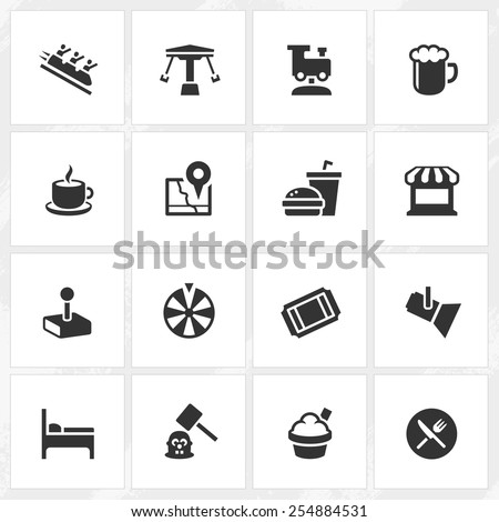 Theme park vector icons. File format is EPS8. - stock vector