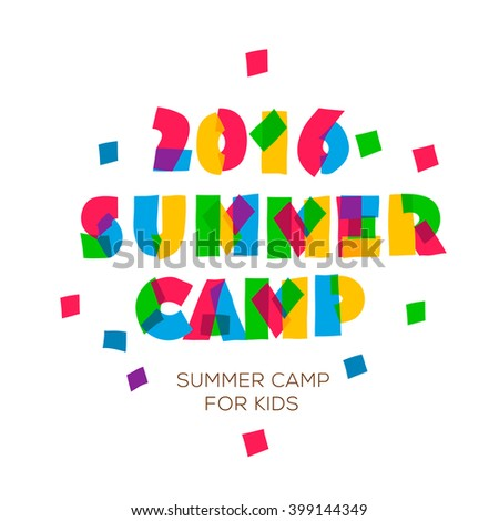 Themed Summer Camp 2016 poster in flat style, vector illustration.  - stock vector