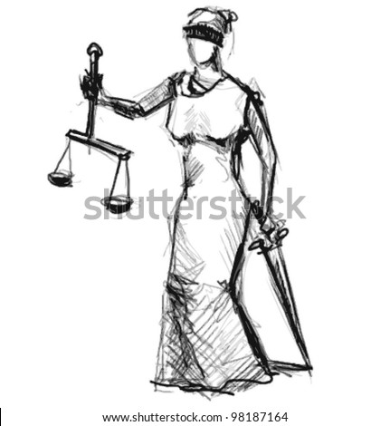 Themis (Femida). A goddess of justice sketch vector illustration