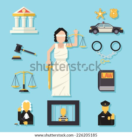 Themis Femida with scales and sword symbol of law justice flat icons set vector illustration - stock vector